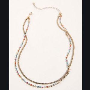 Free People Double rhinestone gold necklace NWOT